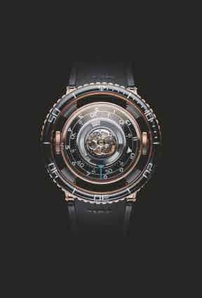 The Revolution Watch Bar on the Fari Islands will showcase sought-after pieces such as MB&F's limited edition Horological Machine No. 7 Aquapod RG Black