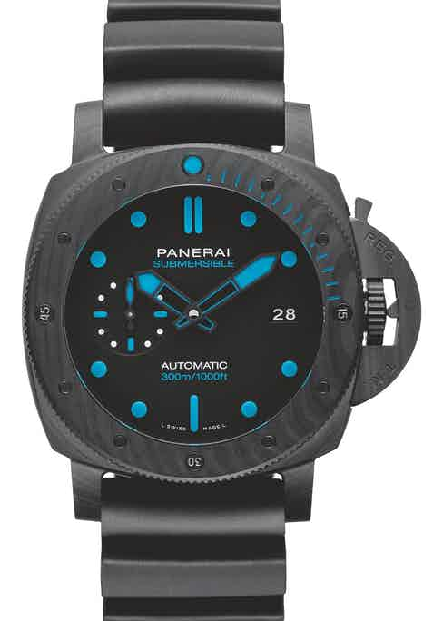 Select a Panerai Submersible Carbotech (left) at the Revolution Watch Bar on the Fari Islands, and shortly thereafter you can be snorkelling or scuba diving in crystal-clear water with the watch strapped to your wrist