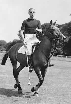 Cutting a dashing figure playing polo in 1950 (Photo by - / AFP) (Photo by -/AFP via Getty Images)