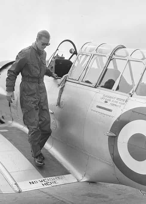 Disembarking from his training aircraft at RAF White Waltham in 1953 (Photo by PNA Rota/Getty Images)