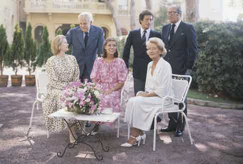 Princess Grace of Monaco, Prince Rainier, Princess Caroline, Philippe Junot, and his parents, Lydia and Michel, at the Royal Palace in Monte Carlo in August 1977 (Photo by Keystone/Hulton Archive/Getty Images)