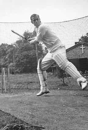 In the cricket nets in 1947 (Photo by Douglas Miller/Keystone/Getty Images)