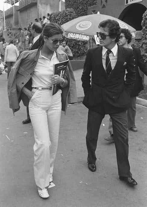 With Caroline at Roland Garros in 1978 (Photo by Daniel SIMON/Gamma-Rapho via Getty Images)