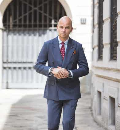 LOOK 3: Denim-coloured worsted wool double-breasted suit.