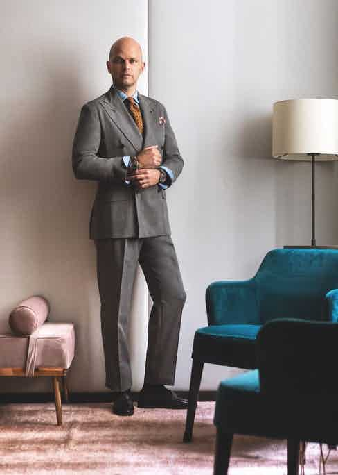 LOOK 6: Grey double-breasted suit