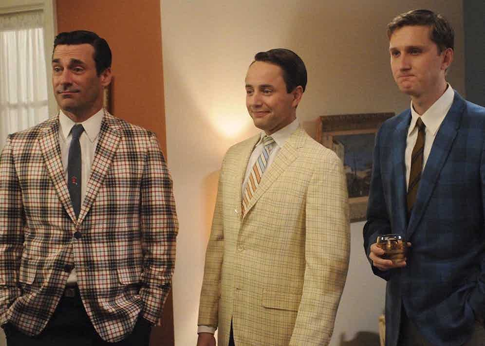 Mad Men characters Don Draper, Pete Campbell and Ken Cosgrove rock bold checks in Season 5 of the hit series set in 1960s New York.