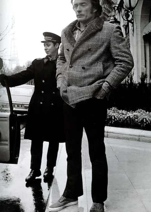 Clint Eastwood leaving the Plaza Athénée, 1973