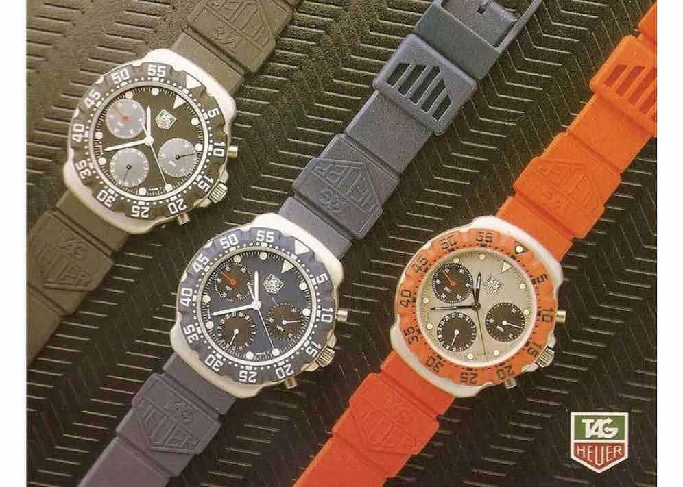 Designed by Eddy Burge, the first generation of Formula 1 watches offered three-hand and chronograph models powered by quartz calibres from ETA.
