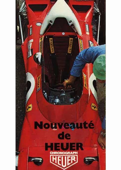 Ferrari race car with Heuer logo, circa 1972.