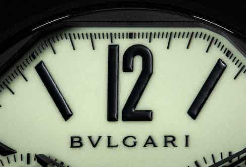 """A close-up of the hyper luminous luminous dial of the Bvlgari Octo Finissimo Ceramic Chronograph GMT """"Nuclear Option '' (© Revolution)"""