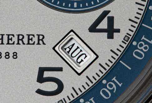 The Heritage BiCompax Annual Lucerne neatly displays the month between four and five o'clock between the hour markers and has a double date indicator below 12 on the upper half of the dial. (© Revolution)