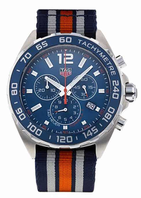 A 43mm chrono with blue dial and sandblasted aluminium tachymeter-scale bezel, this example in our shop is from 2020.