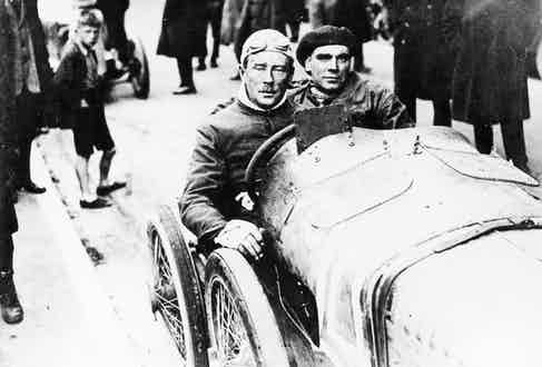 Algernon Lee Guinness at the wheel of a Sunbeam. Algernon Lee Guinness was a well-known racing driver who won the 1922 Isle of Man TT car race (Image by © Heritage Images/Corbis