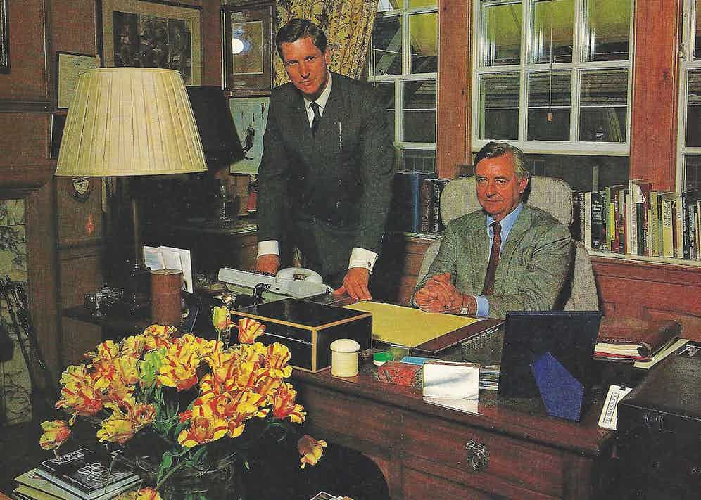 Birley with Nick Chamberlin, the father of The Rake's Editor, in his London office, 1988