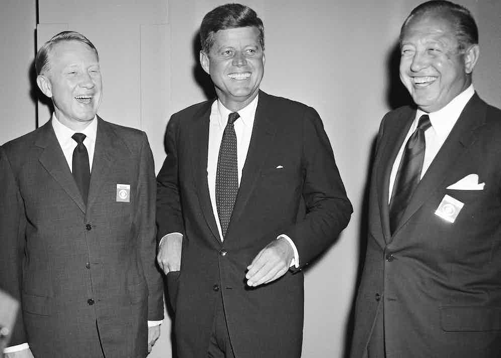 Paley, (right) with Frank Stanton and John F. Kennedy at the first televised presidential debate between Kennedy and Richard Nixon, hosted by C.B.S., in 1960 (Photo by CBS via Getty Images)