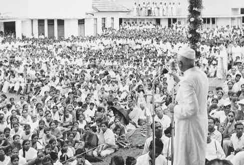 Addressing a crowd during a visit to Colombo, Sri Lanka, in June 1957 (Photo by FPG/Archive Photos/Getty Images)