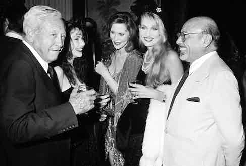 Paley, Rosie Hall, Cindy Hall, Jerry Hall and Ahmet Ertegun at Diana Vreeland's book party in 1984 at Mortimer's restaurant in New York (Photo by Ron Galella/WireImage)