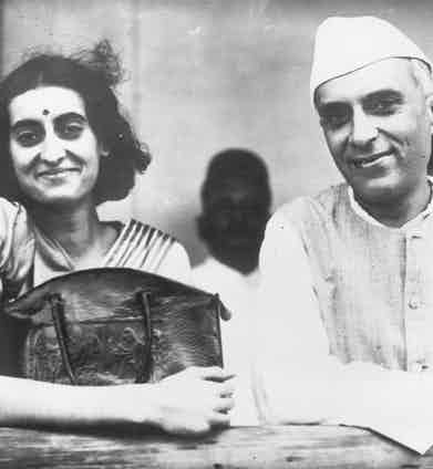 Nehru with his daughter and the future prime minister, Indira (Photo by Keystone/Getty Images)
