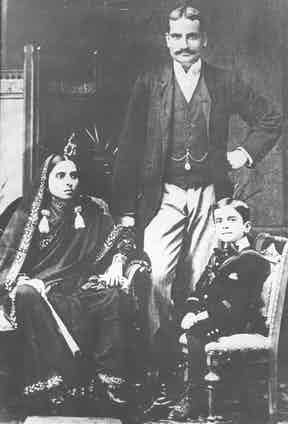 Nehru as a child with his father, Pandit Motilal Nehru, and mother, Swarup Rani Nehru (Photo by Keystone/Getty Images)
