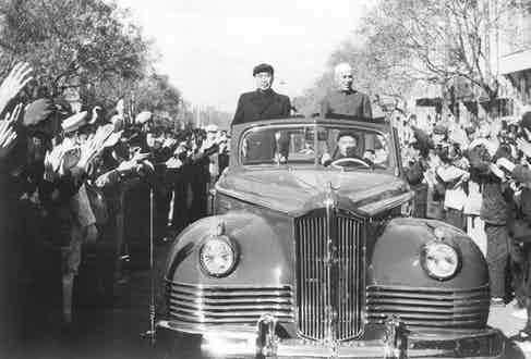 Nehru and Zhou Enlai in Beijing, October 1954 (Photo by Keystone-France/Gamma-Rapho via Getty Images)