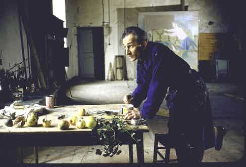 Balthus at work in his studio in the Château de Chassy, 1956 (Photo by Loomis Dean/The LIFE Picture Collection/Getty