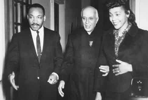 With Dr. Martin Luther King and his wife, Coretta Scott King, during their visit to India in 1959
