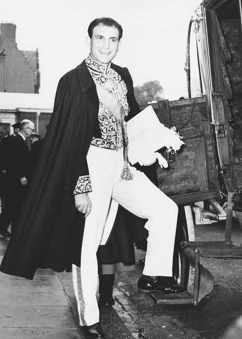 Iranian ambassador Ardeshir Zahedi in London in 1964 (Photo by Central Press/Hulton Archive/Getty Images)