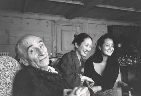 At home with Setsuko and their daughter, Harumi, 1990