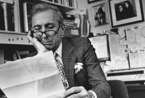 Author Gay Talese looking over manuscript as he sits in his sub-basement office at home. (Photo by Marianne Barcellona/The LIFE Images Collection/Getty Images)