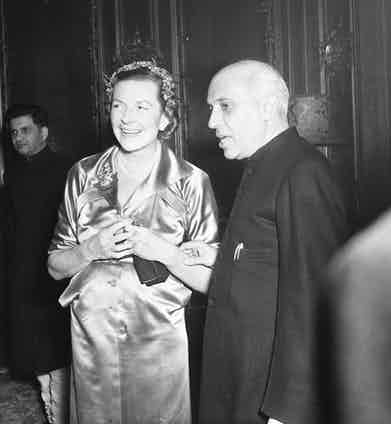 Nehru entertains Lady Mountbatten at a reception held in his honour in London, 1955 (Photo by ANL/REX/Shutterstock (3326965a)
