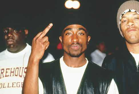 Tupac Shakur backstage at a Tupac performance at Club Amazon (Photo by Al Pereira/Michael Ochs Archives/Getty Images)