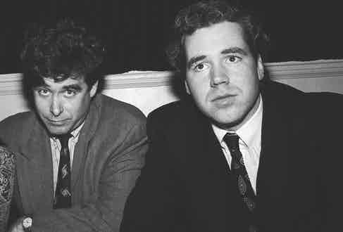Jay McInerney and Bret Easton Ellis at a party for the premiere of Cry-Baby in April 1990 (Photo by Catherine McGann/Getty Images)