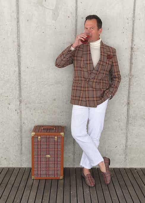 Matt Hranek, of WM Brownmagazine, wearing the Negroni tweed by Fox Brothers