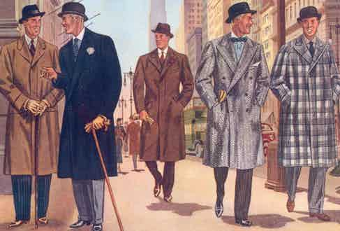 Well-dressed gentlemen from the 1930s, as illustrated by Laurence Fellows in Apparel Arts. They wear a variety of rakish coats, with fly-fronts, double-breasted closures, raglan sleeves and boutonnieres.